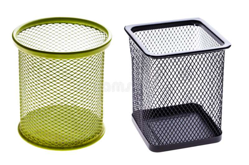 Basket for pencils. On a white background isolated stock photography