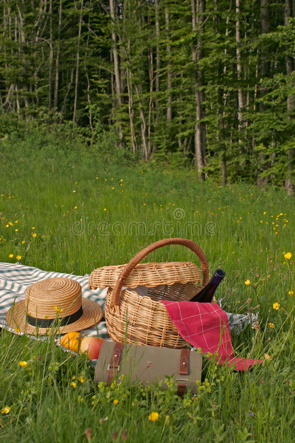 Basket of picnic stock photos