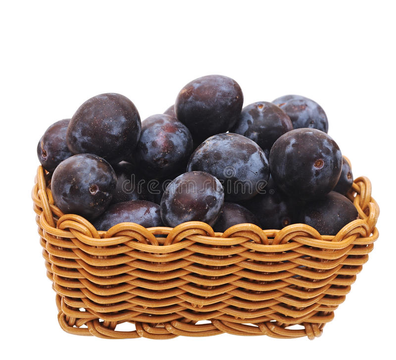 A Basket With Plums Royalty Free Stock Photos