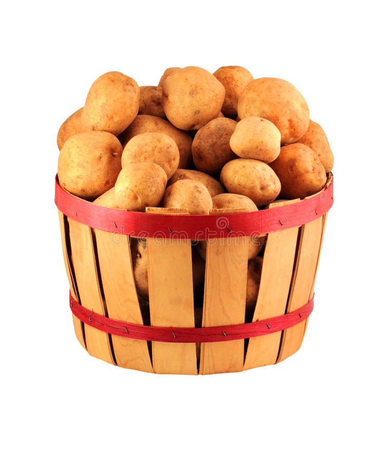 Basket of potatoes royalty free stock photography