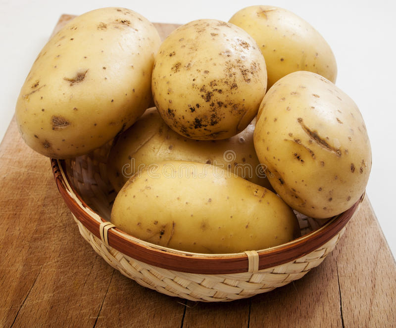 Basket with potatoes. Close up royalty free stock images