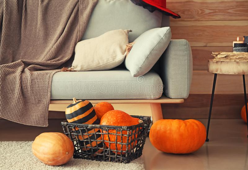 Basket with pumpkins prepared for Halloween party on floor in room royalty free stock photo