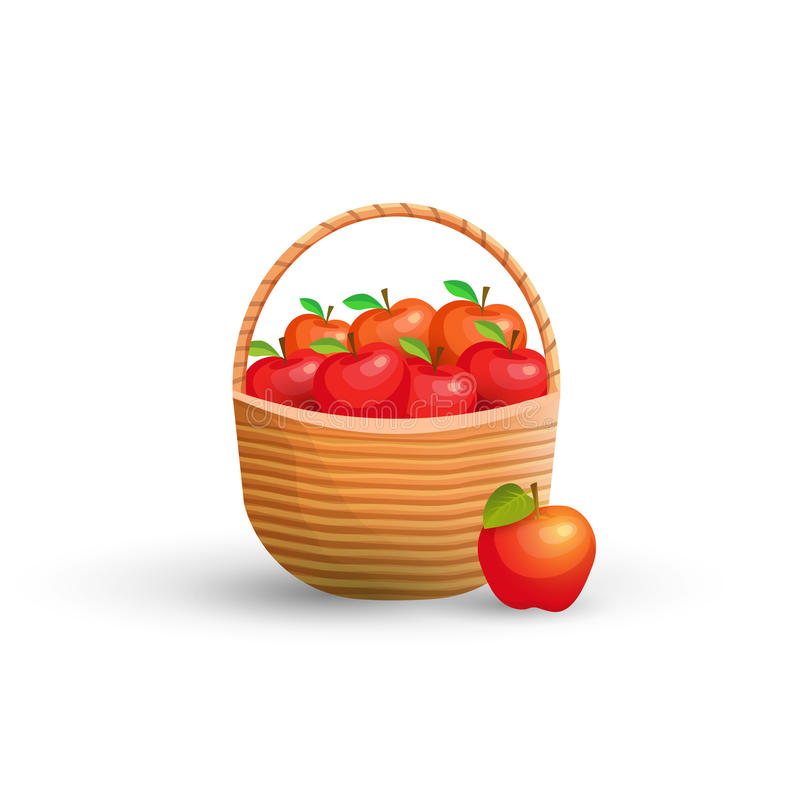 Basket with red apples stock illustration