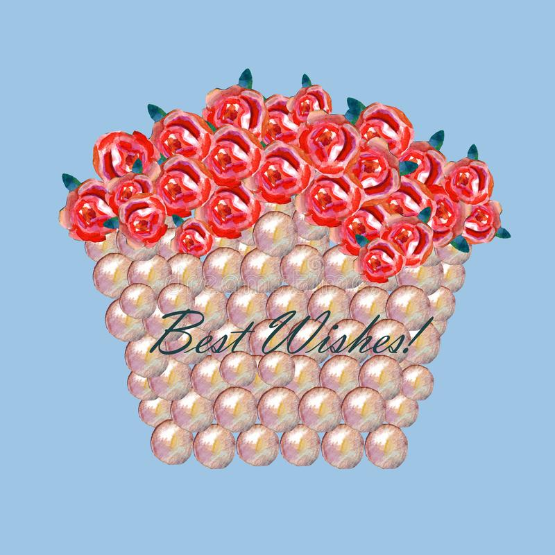 Basket with red roses greeting card stock image