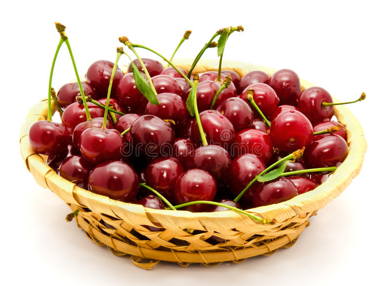 Download Basket With Ripe Wet Cherry Stock Photo - Image of object, health: 25657652