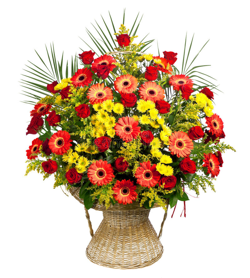 Download Basket Of Roses, Gerberas And Palm Leaves Stock Image - Image: 24767323