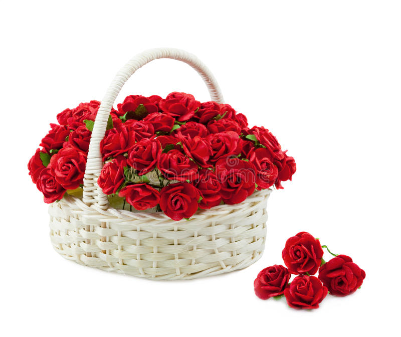 Basket roses isolated stock images