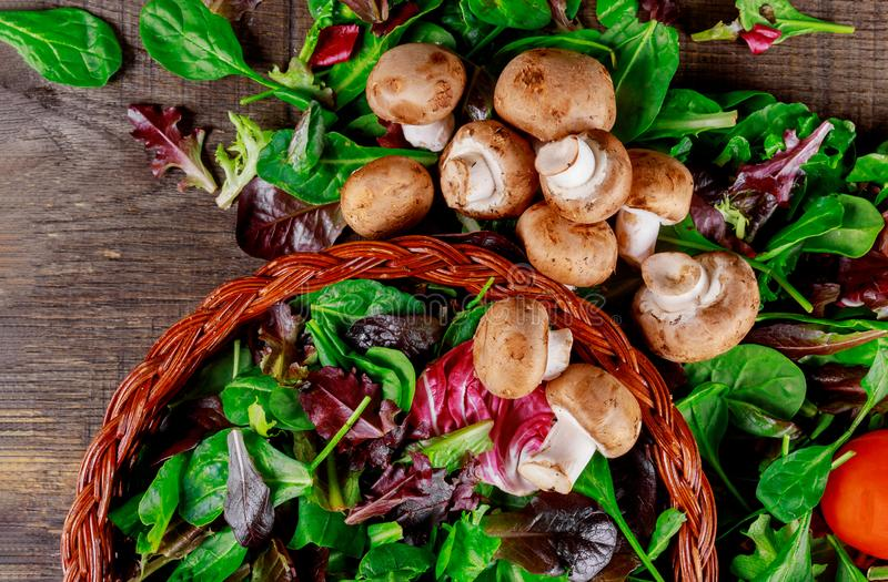 Basket with salad of fresh green leaves, tomato and mushroom champignon on a on rustic wooden table vegetable stock photography