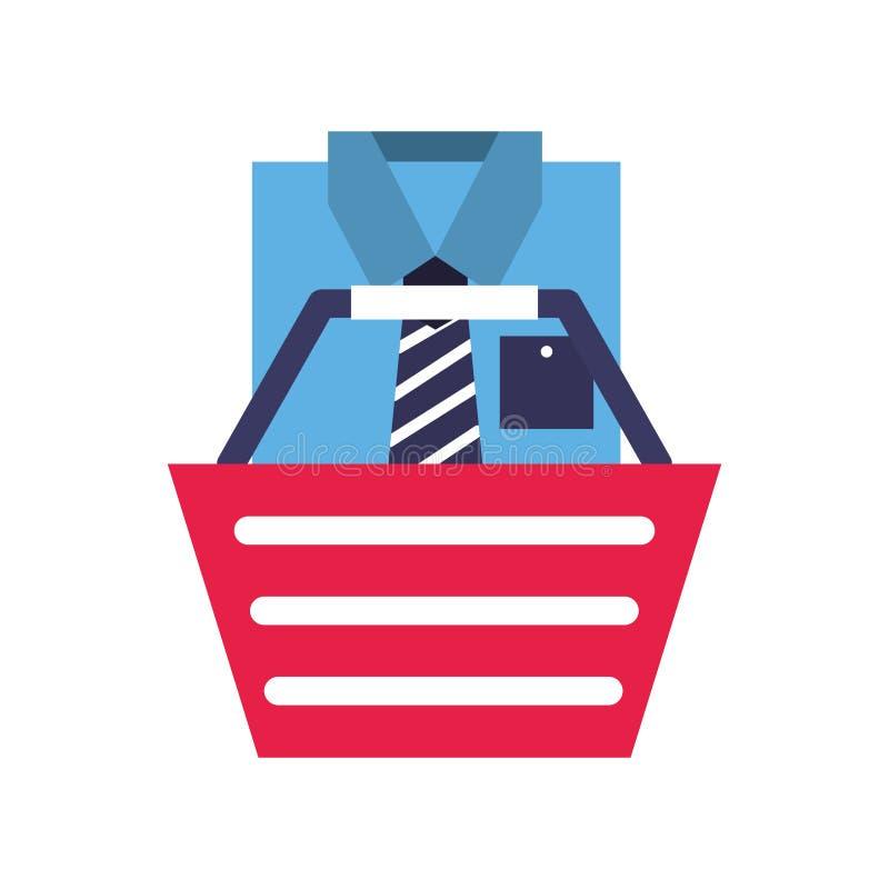 Basket shirt clothes elegant online shopping. Vector illustration royalty free illustration