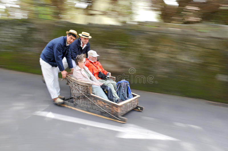 Basket Sledge Ride in Madeira (Portugal) stock image