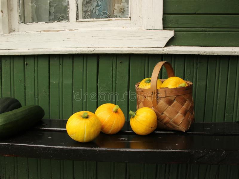 Basket with small pumpkins and on the porch of a village house royalty free stock photos