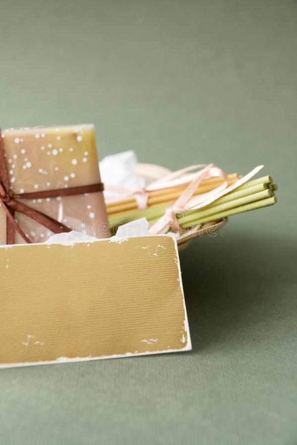 Download Basket With Soap And Aromatic Sticks Royalty Free Stock Photography - Image: 13422017