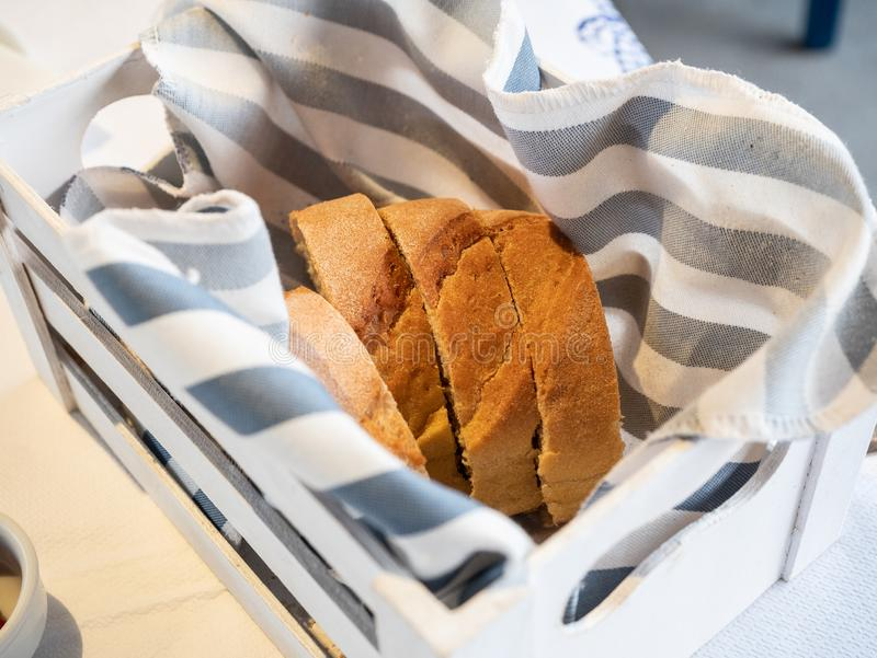 Basket of soft bread cut into slices. Of light wheat royalty free stock photo