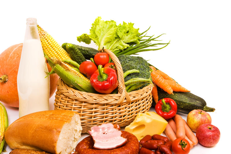 Download Basket with some food stock photo. Image of basket, isolated - 12955282