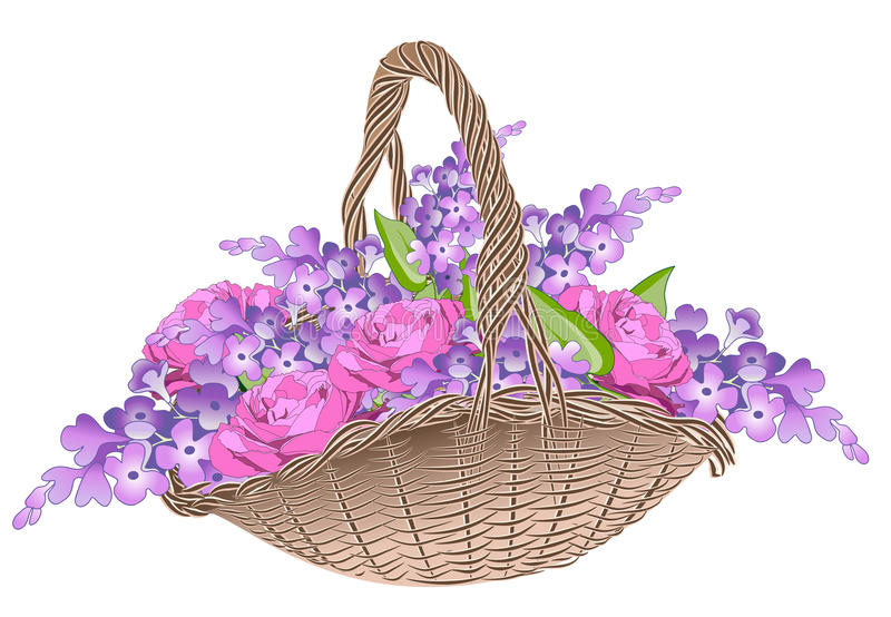 Download Basket with spring flowers stock vector. Image of rosy - 23637631