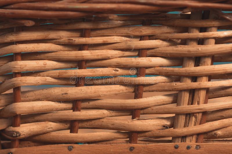 Basket, straw and wood weft texture for backgrounds royalty free stock photo