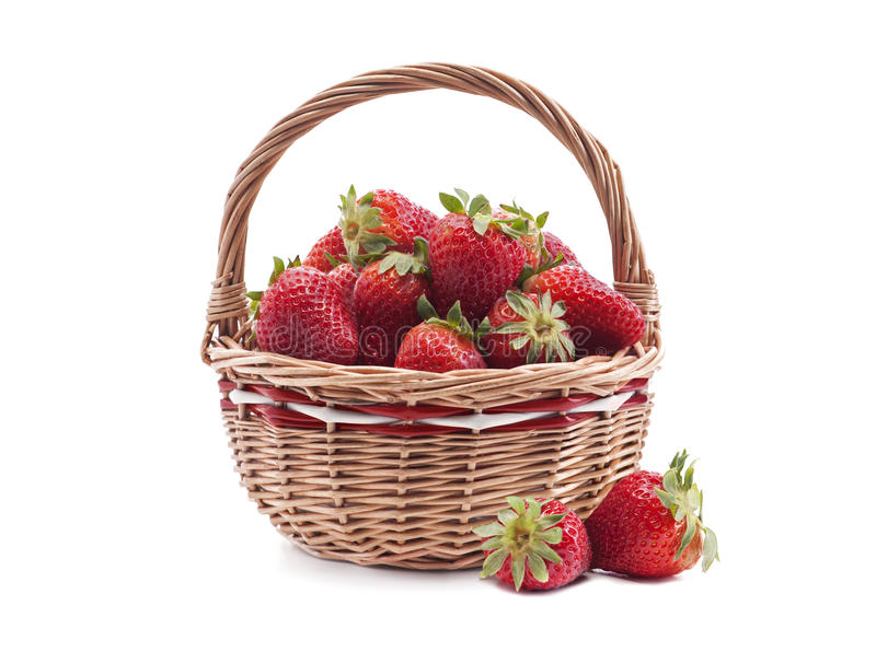 Basket with strawberry stock photos