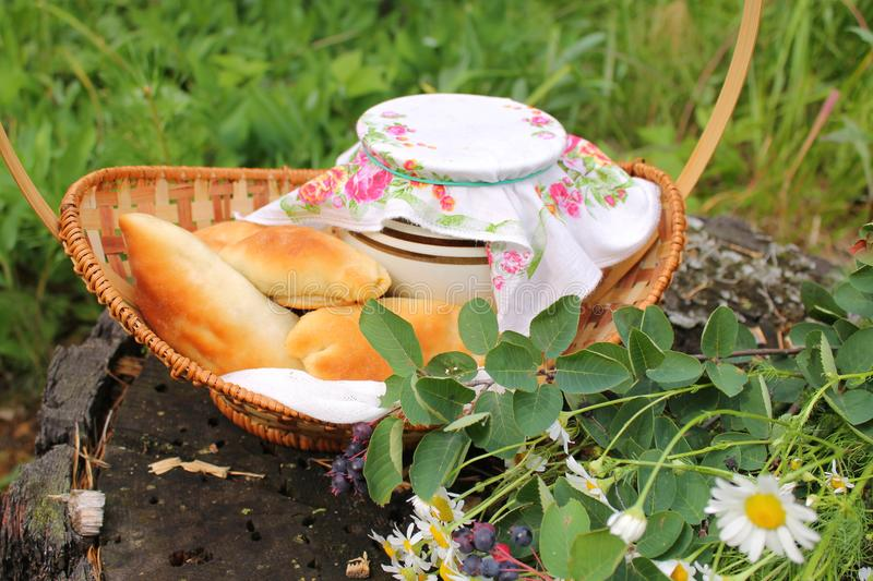Breakfast in nature, pies in a basket royalty free stock image