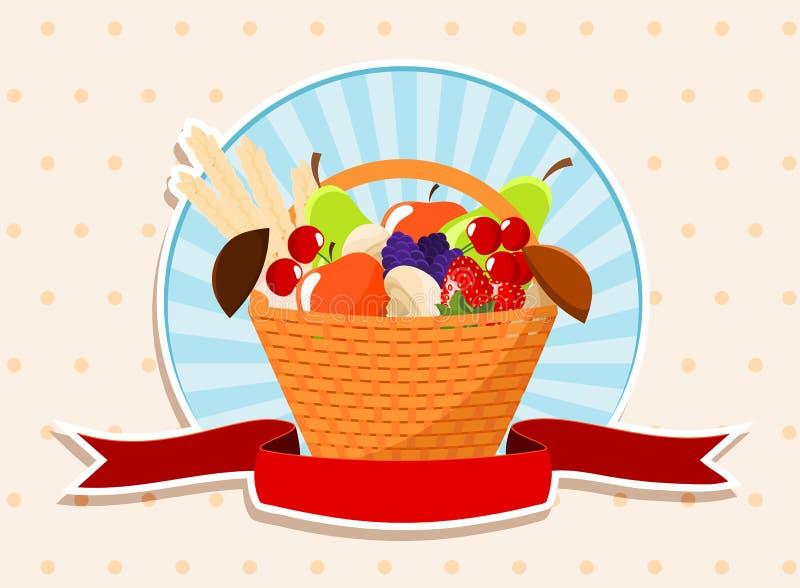 Basket with summer fruits royalty free illustration