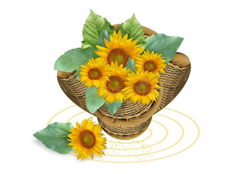 Basket with sunflowers stock illustration