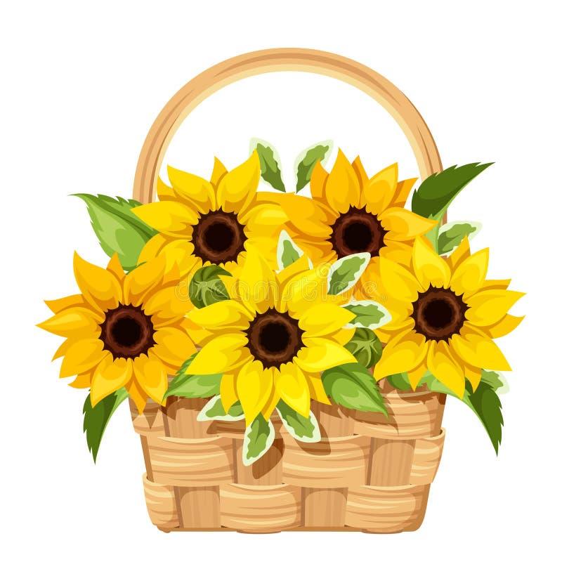 Basket with sunflowers. Vector illustration. stock illustration