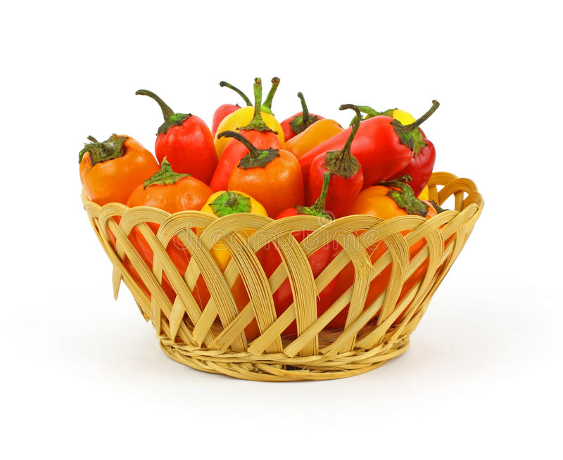 Basket Sweet Mini Peppers stock photos