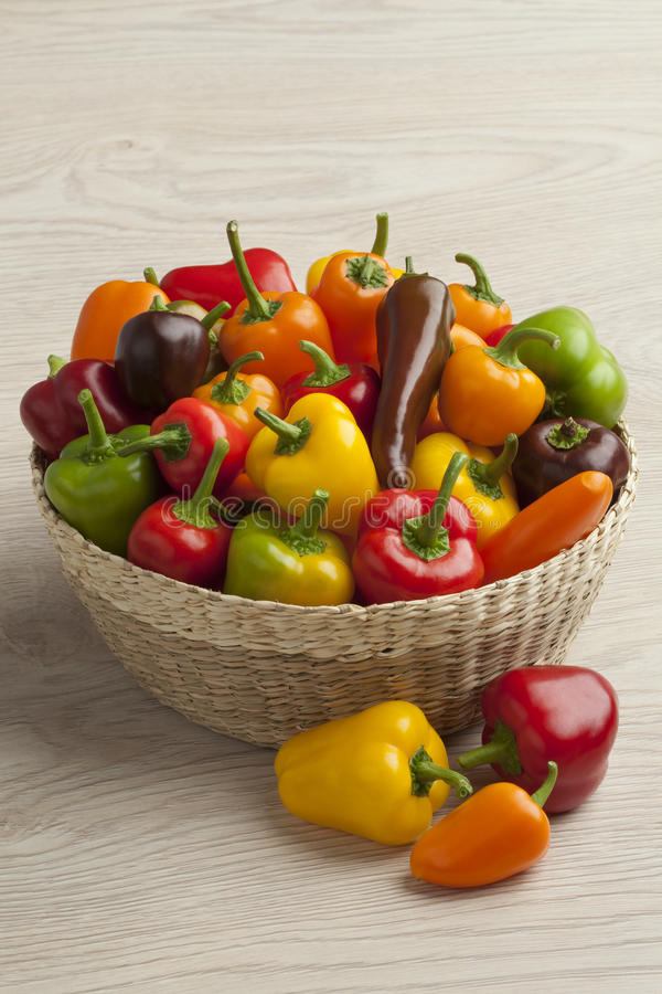 Basket with sweet mini peppers royalty free stock images
