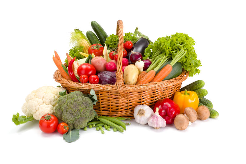Basket with various fresh vegetables stock photo