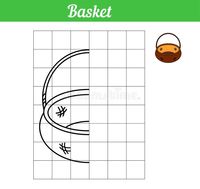Basket. Vector game copy the picture. Simple coloring book with grid for printing and paint. Illustration easy game for education stock illustration