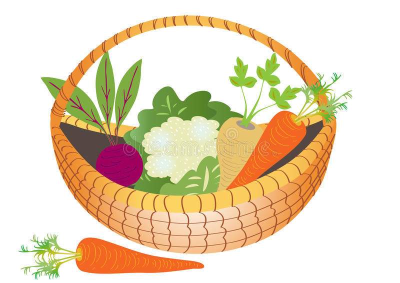 a basket of vegetables stock vector image 57218744
