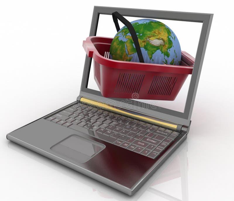 Download Basket Of Visit Of Shop With Globe In A Notebook Stock Illustration - Illustration: 32691156
