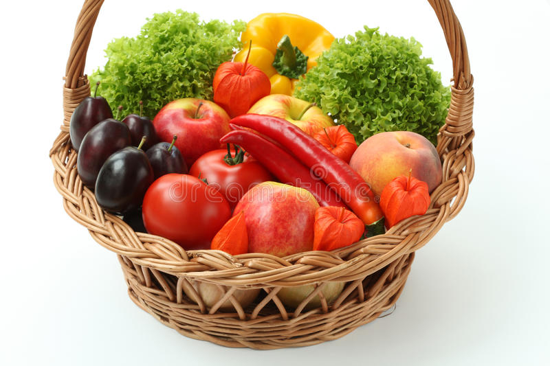 Basket with vitamins royalty free stock photo