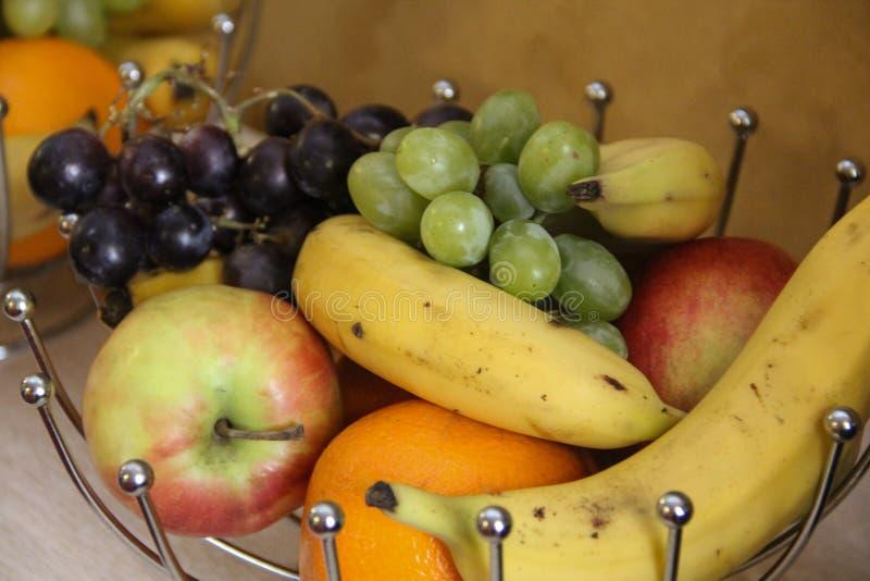 Basket whit fresh fruits stock photo