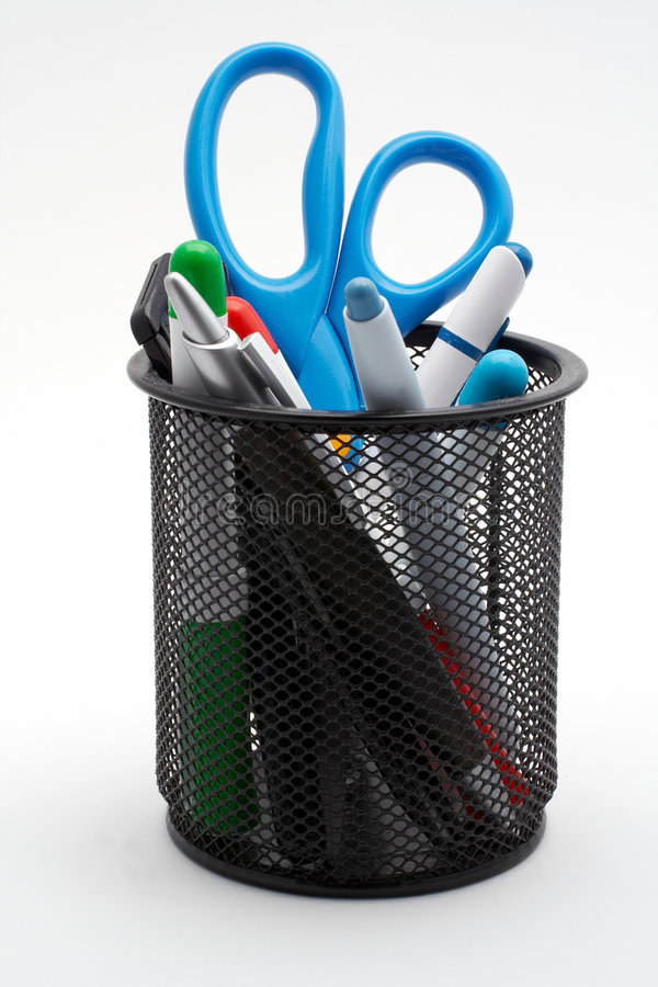 Free Basket With Various Office Items Stock Image - 854061