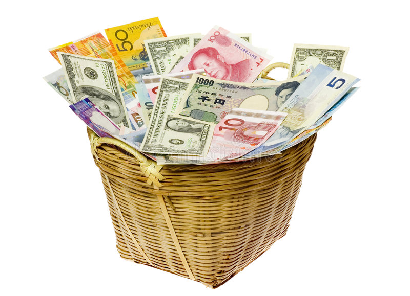 Basket of world currencies royalty free stock photo