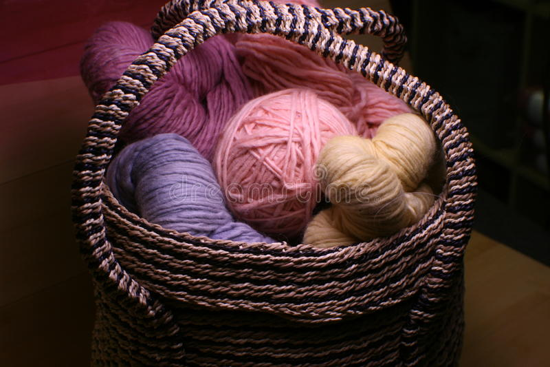 Basket of Yarn royalty free stock images