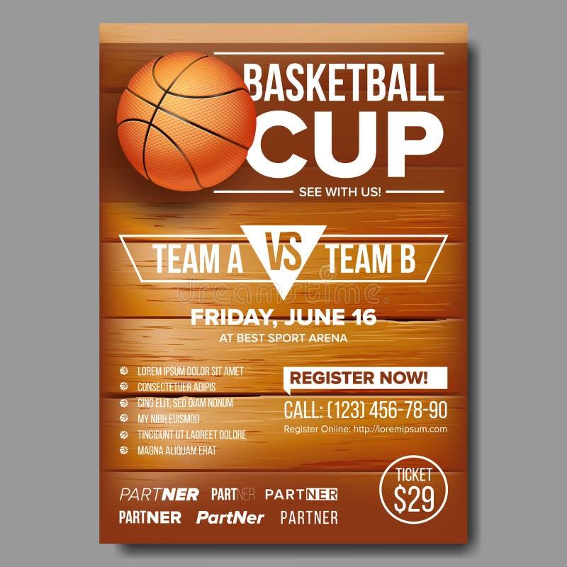Basketaffischvektor isolerad white för bakgrundsboll basket Sportdesign för befordran för händelse för sportstång Basketmatchrekl stock illustrationer