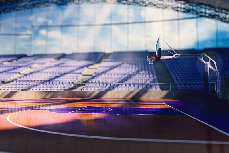 Basketarenan framför royaltyfri illustrationer