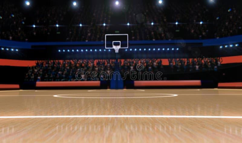 Basketarenan med åskådarepanoramasikten 3d framför royaltyfri fotografi