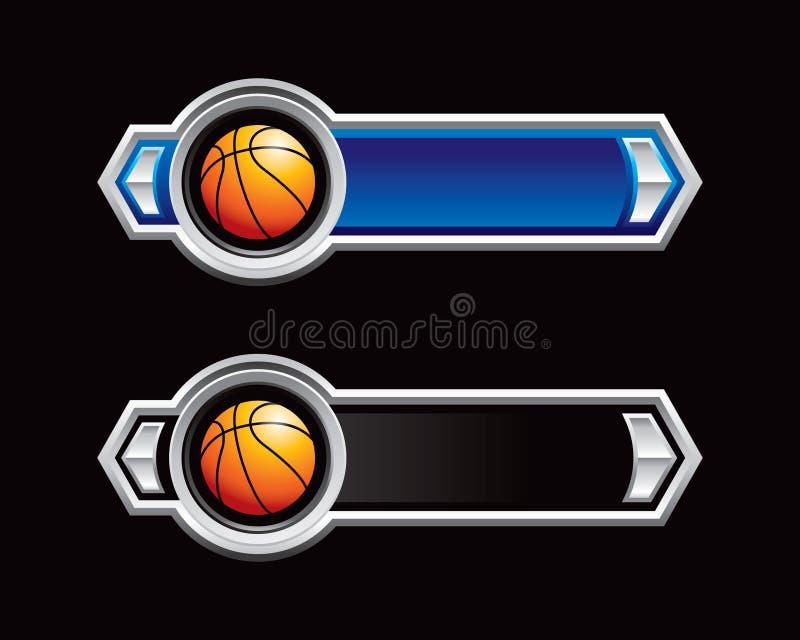 Basketbälle auf den blauen und schwarzen Pfeilen lizenzfreie abbildung