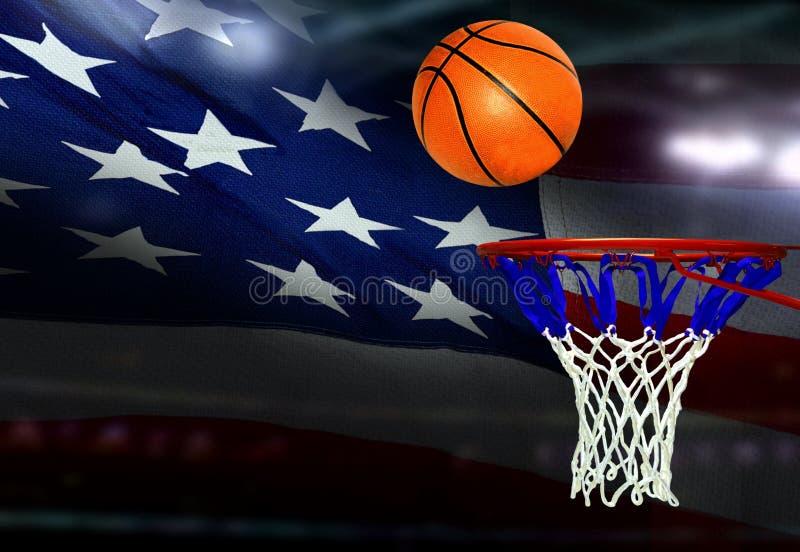Basketbal aan de hoepel met Amerikaanse vlag op achtergrond wordt geschoten die royalty-vrije stock afbeelding