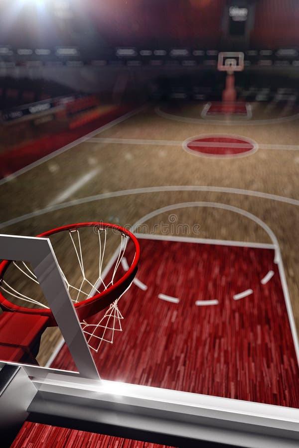 Basketbal court De arena van de sport 3d geef achtergrond terug stock illustratie