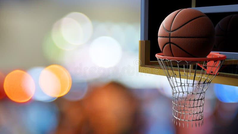 Basketbal die in hoepel op mooie bokeh van kleurrijke stadion lichte achtergrond gaan Sport en Concurrerend spelconcept 3d vector illustratie