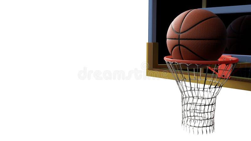 Basketbal die in hoepel op wit ge?soleerde achtergrond gaan Sport en Concurrerend spelconcept 3D Illustratie stock illustratie