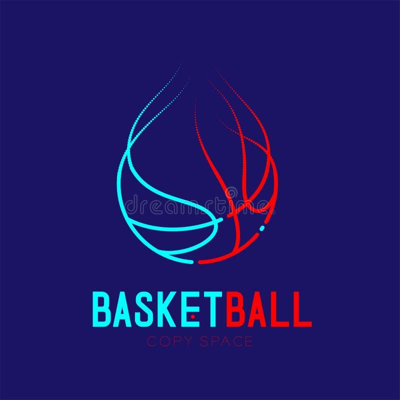 Basketbal die van het het pictogramoverzicht van het brandembleem van het de slag de vastgestelde streepje illustratie van het de vector illustratie