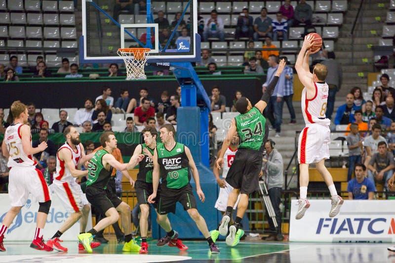 Basketbal drie puntenschot royalty-vrije stock afbeeldingen