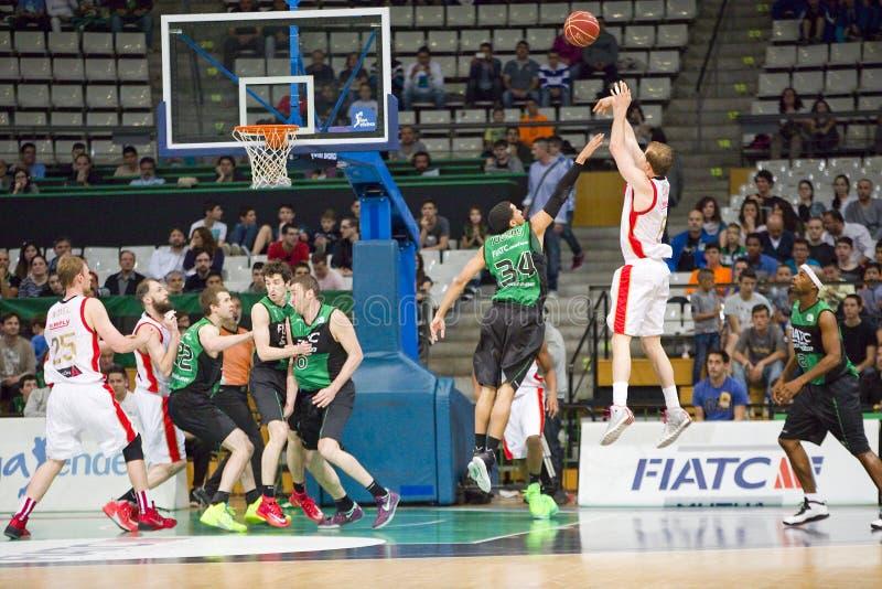 Basketbal drie puntenschot royalty-vrije stock afbeelding