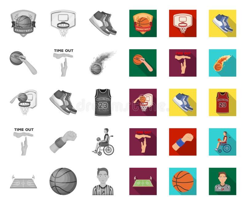 Basketbal en attributen mono, vlakke pictogrammen in vastgestelde inzameling voor ontwerp Basketbalspeler en materiaal vectorsymb vector illustratie