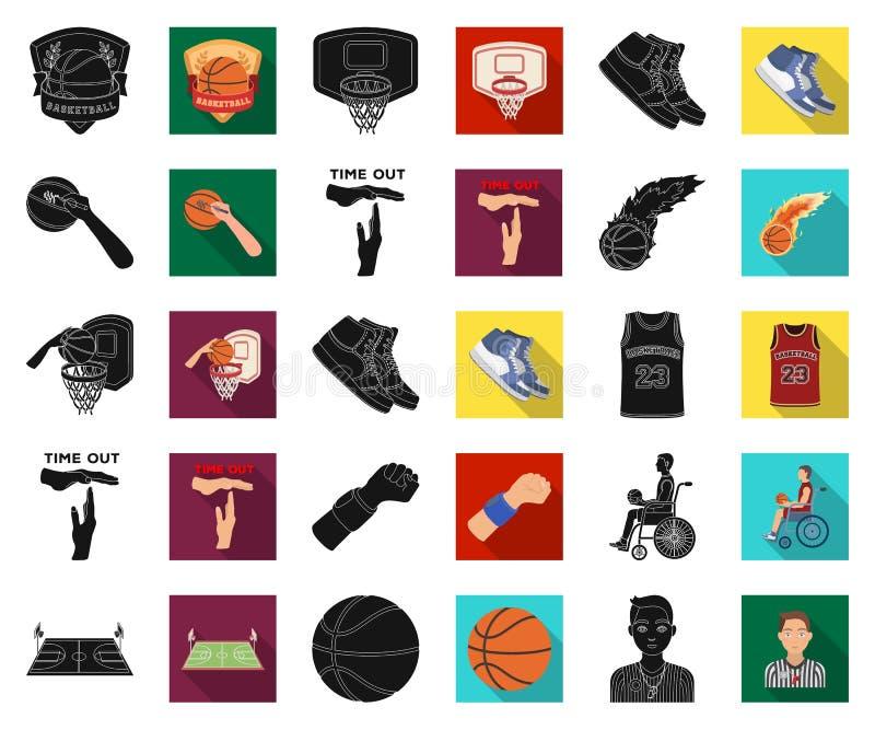 Basketbal en attributen zwarte, vlakke pictogrammen in vastgestelde inzameling voor ontwerp Basketbalspeler en materiaal vectorsy vector illustratie