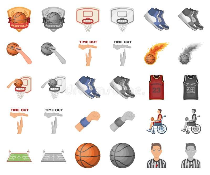 Basketbal en attributenbeeldverhaal, monochrom pictogrammen in vastgestelde inzameling voor ontwerp Van het basketbalspeler en ma vector illustratie